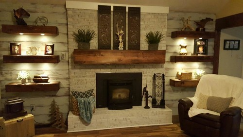 I am thinking of adding floating shelves (rustic wood) on either side of my fireplace. 4 shelves on left side (higher ceiling) and 3 on either side. Good idea or bad idea? I would like to get rid of the white IKEA cube case