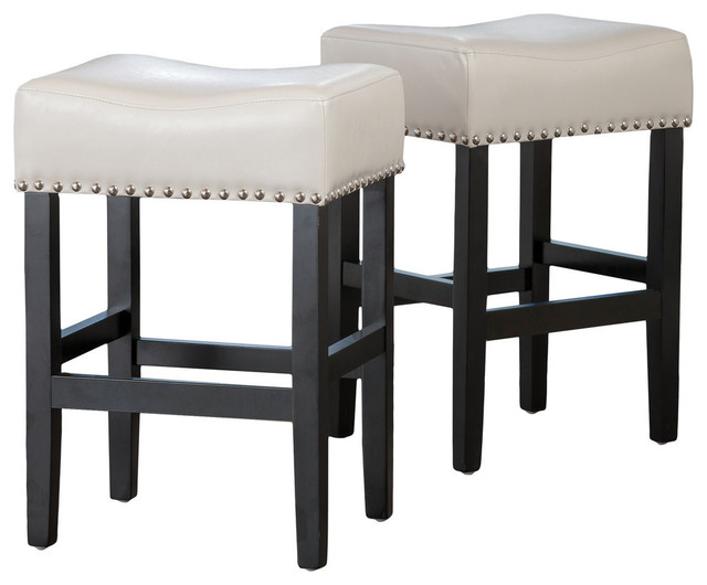 Ralph Off White Leather Backless Counter Stool Set Of 2