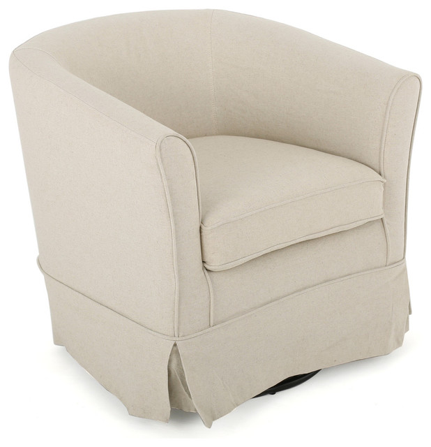 GDF Studio Hamilton Natural Fabric Swivel Chair with Loose Cover, Natural by GDFStudio