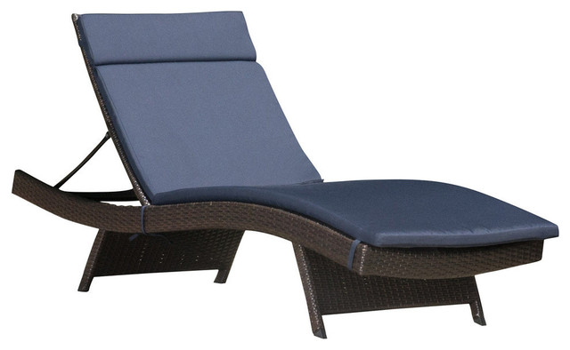 GDF Studio Lakeport Outdoor Wicker Adjustable Chaise Lounge With Navy Cushion