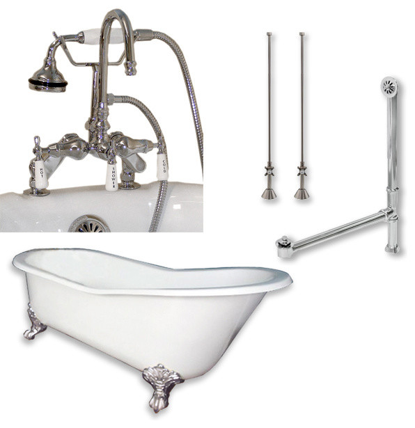 "Cast Iron Slipper Tub 61"", Telephone Faucet Polished Chrome Package."