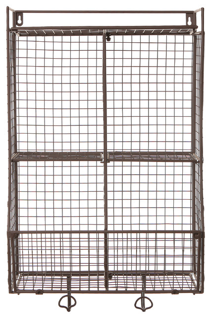 Wall Mounted Wire Mesh Storage Basket With 2 Hanging Hooks