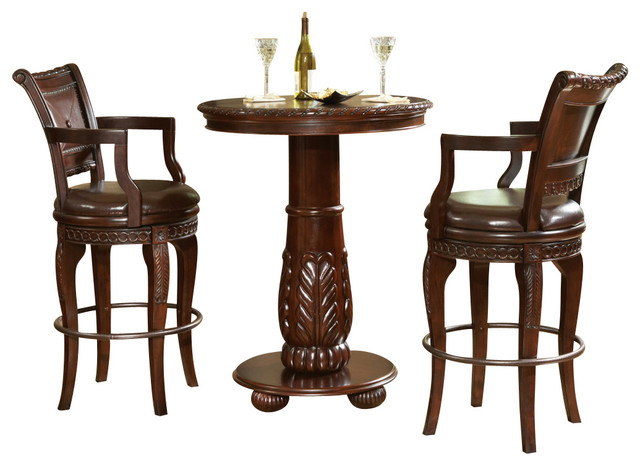silver antoinette 3 piece pub table set indoor pub and bistro sets