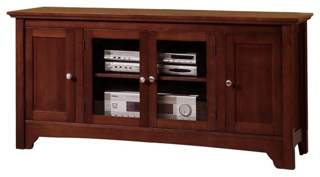 Walker Edison Solid Wood TV Console With 4-Doors - Entertainment Centers And Tv Stands | Houzz