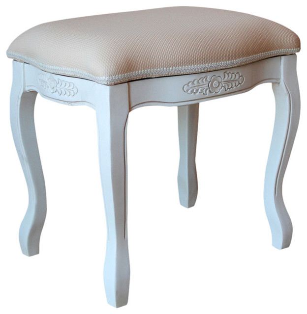 Vanity Stool With Cushion Top,antique White.