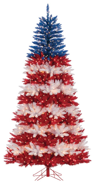 Patriotic Christmas Trees.Patriotic America Tree With 1040 Clear Lights And 10 Twinke Lights 7 5 Foot