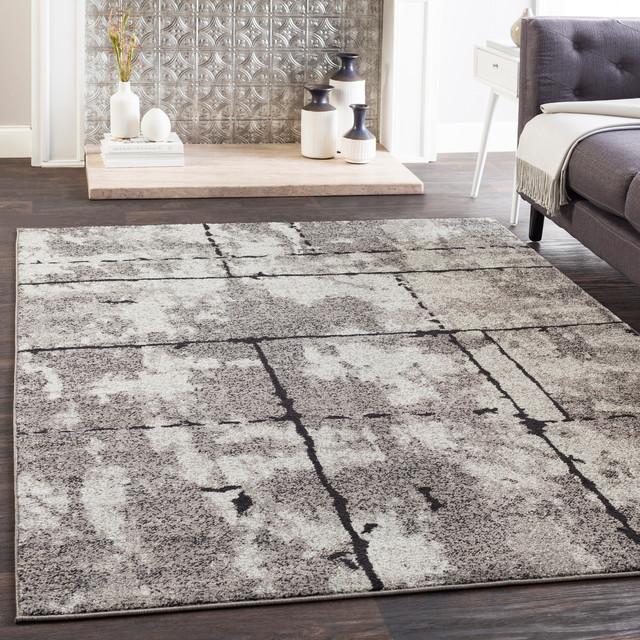 Elaziz Modern Gray Black Area Rug