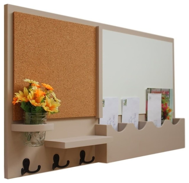 Message Center With Whiteboard, Corkboard, Mail Slots, Hooks, White, Smooth