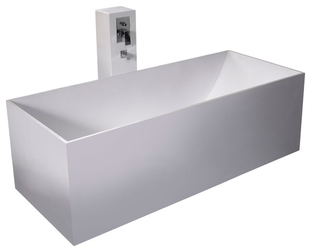 Adm white stand alone solid surface stone resin bathtub for Freestanding stone resin bathtubs