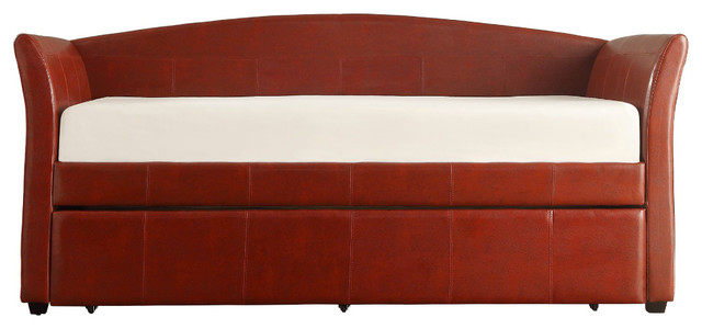 Daybed With Trundle Wine Red Transitional Daybeds