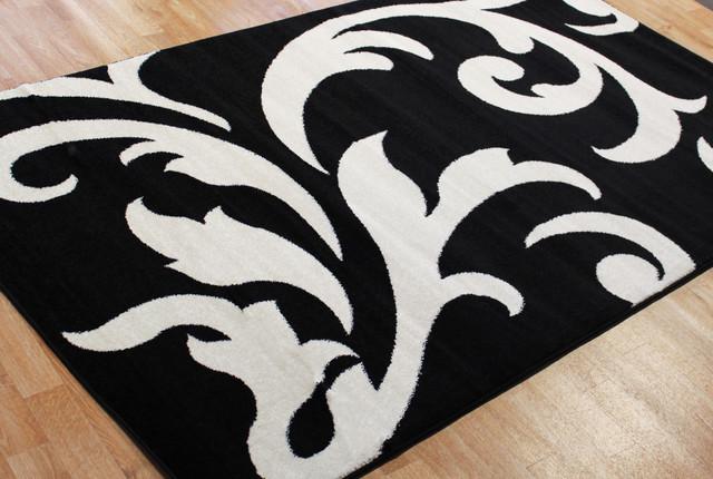 Metro Floral Rug Black & White 5' X 8'