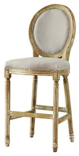 Louis French Vintage Cottage Fabric Upholstered Barstool