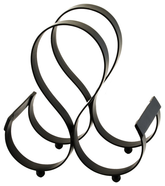 3 Bottle Iron Wine Rack, Matte Black.