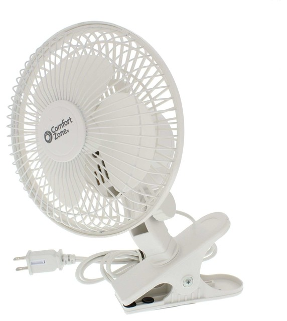 "6"" Clip-On 2-Speed Fan, White."