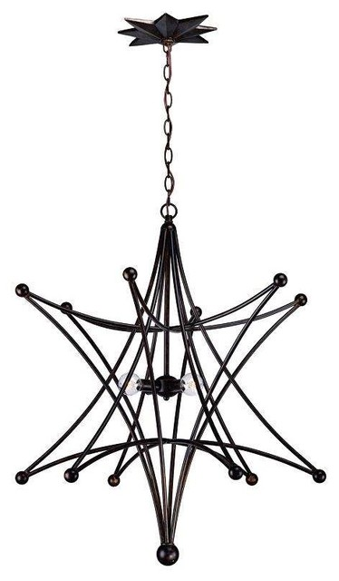 4 Light Standard Bulb Large Pendant, English Bronze.