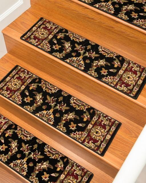 "Sydney Polypropylene Stair Treads Carpet, Black, 9"" X 29"" Set of 8"