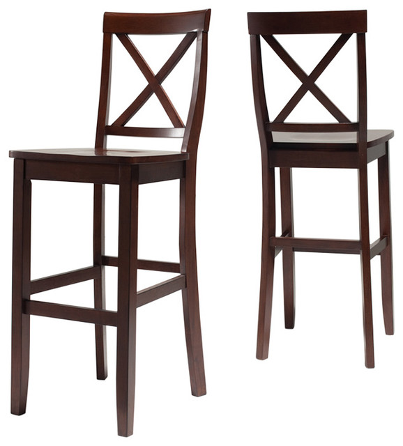 Admirable X Back Barstool Mahogany Finish With 30 Seat Height Set Of 2 Creativecarmelina Interior Chair Design Creativecarmelinacom