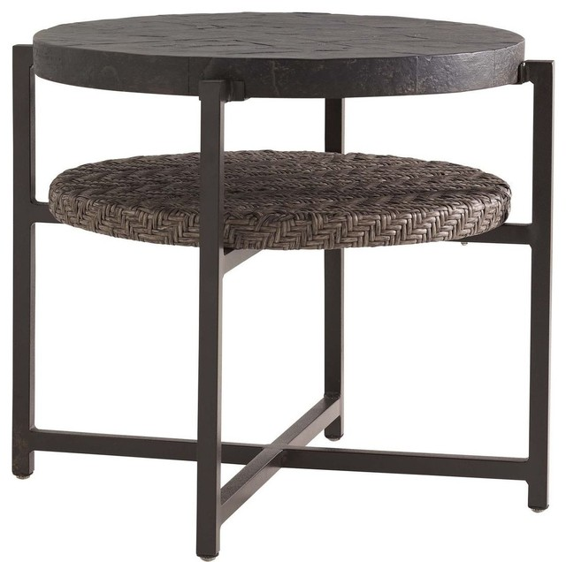 Tommy Bahama Blue Olive Round End Table.