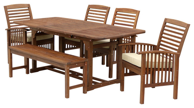 6Piece Acacia Patio Dining Set With Cushions Transitional