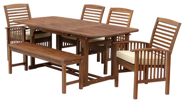 6piece acacia patio dining set with cushions dark brown