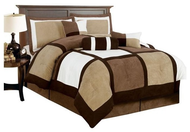 King Size 7 Piece Bed In A Bag Patchwork Comforter Set Brown White