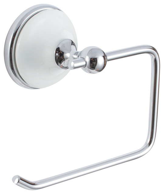 Brighton Bath Series Single Post Paper Holder Polished Chrome White Porcelain