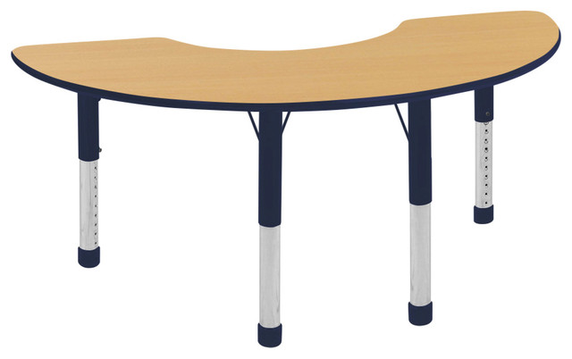 Maple and Navy Half Moon Table, - Contemporary - Kids ...