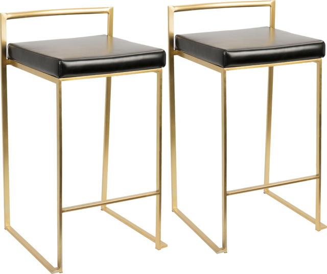 Lumisource Fuji Counter Stools Gold And Black Set Of 2