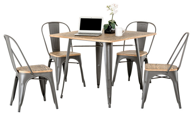 Industrial Dining Table Set: Modern Grey Metal And Wood Square Dining Table Set