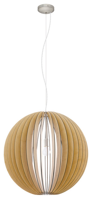 Cossano Geometric Pendant, Matte Nickel With Wood Maple Shade.