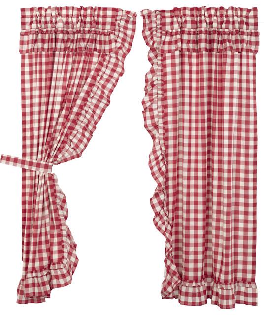 Annie Buffalo Red Curtains Ruffled Short Panels
