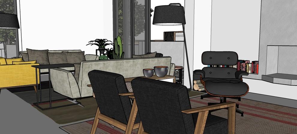 Immagine render. Vista interna della zona giorno in progetto.
