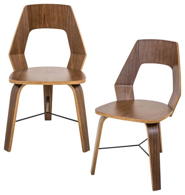 lumisource Trilogy Modern Walnut Chairs, Set of 2