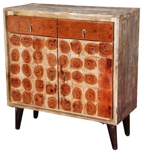 Lovell Tree Ring Tiles Rustic Mango Wood 2 Drawer Storage Cabinet