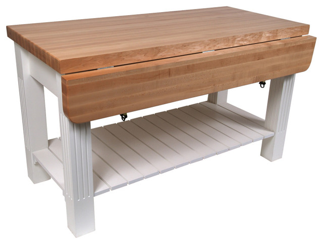 John Boos Maple Grazzi Butcher Block Table with Drop Leaf - Beach Style - Kitchen Islands And ...