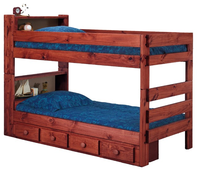 Ameriwood Extra Long Twin Over Twin Bookcase Bunk Bed, Mahogany, Underbed Storag.