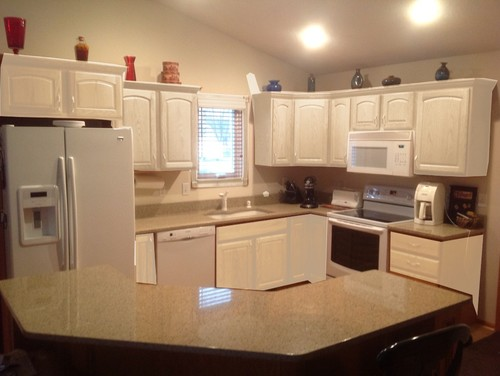 Kitchen Cabinets Leave Honey Oak Or Paint White Mocked Up Photo Included