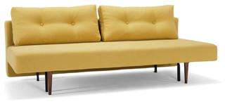 """Recast Sofa Bed, Soft Mustard Flower, 55""""x79"""", Dark Styletto Legs"""