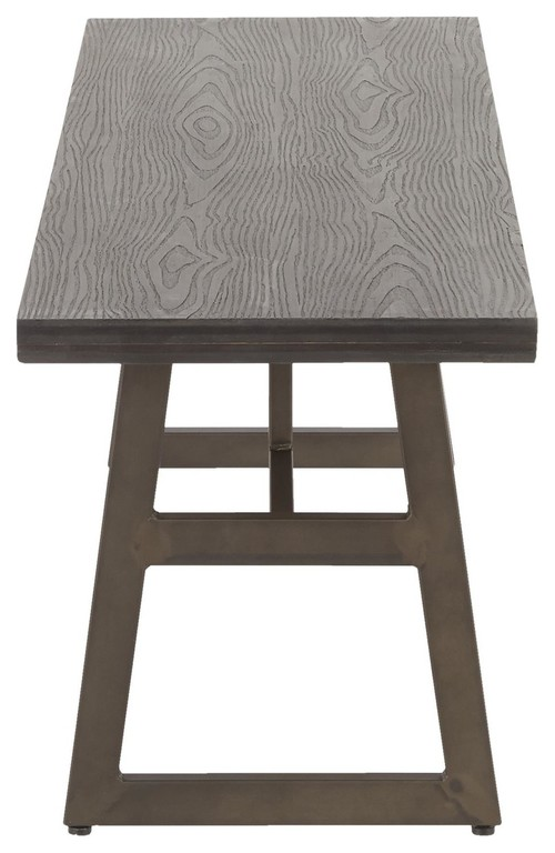 Geo Industrial Bench, Antique Metal and Espresso Wood-Pressed Grain Bamboo