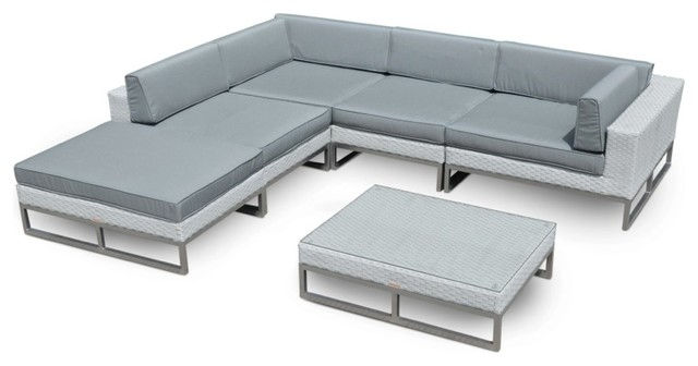 Outdoor Patio Furniture 6 Piece All-Weather Wicker Sofa Sectional Set.