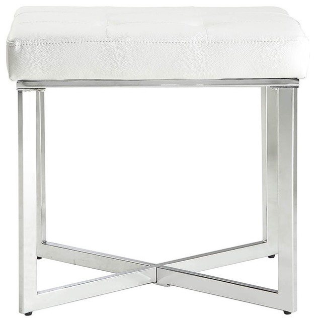 Summer Vanity Bench White And Chrome Contemporary