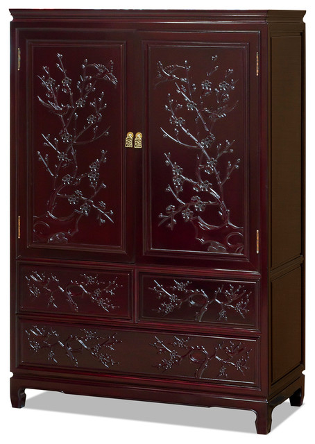 Rosewood Flower And Birds Design Armoire Asian