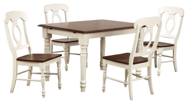 5 Piece Butterfly Leaf Dining Table Set Napoleon Chairs