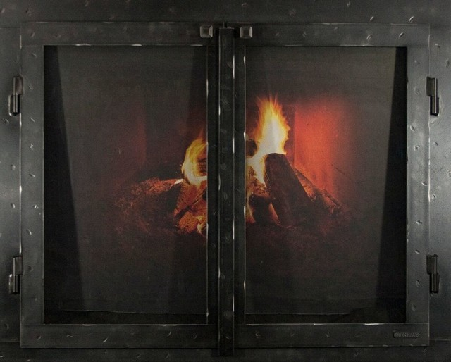 """Iron Fireplace Glass Door With Gate Mesh, 2 1/2"""" Frame In Black Copper, 38""""x33""""."""