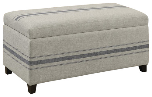 Country Style Gray Fabric Storage Bench Seat