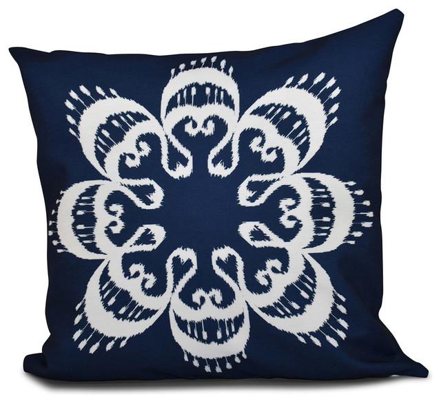 Ikat Mandala Geometric Outdoor Pillow Mediterranean