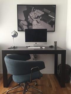 #WestElm Halifax Desk Chair In Regal Blue (linen Weave), #WestElm Parsons  Desk In Chocolate, #UrbanOutfitters Gumball Desk Lamp In Polished Nickel,  Ar..