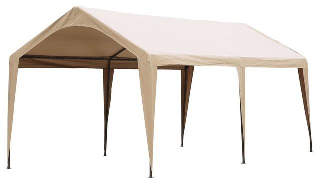 Abba Patio 10&x27;x20&x27; Domain Outdoor Carport Canopy With 6 Steel Legs, Beige.