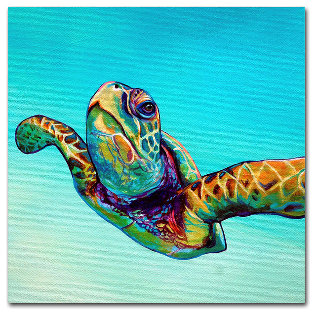 93aaeffefa1 Corina St. Martin 'Green Sea Turtle' Canvas Art - Beach Style - Prints And  Posters - by Trademark Global