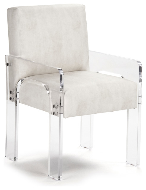 Aniston Modern Art Deco Acrylic Arm Chair transitional-dining-chairs